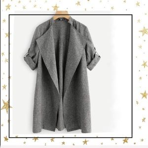 Shein Grey open front roll tab sleeve coat (C3)